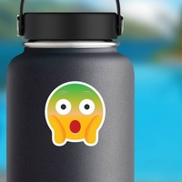 Phone Emoji Sticker Surprised Green In the Face on a Water Bottle example