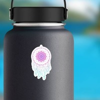 Pink and Blue Dreamcatcher with Charms Boho Sticker on a Water Bottle example