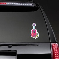 Pink Guitar with Flowers Hippie Sticker on a Rear Car Window example