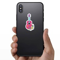 Pink Guitar with Flowers Hippie Sticker on a Phone example