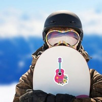 Pink Guitar with Flowers Hippie Sticker on a Snowboard example