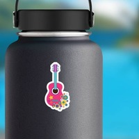 Pink Guitar with Flowers Hippie Sticker on a Water Bottle example