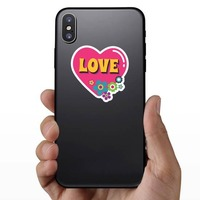 Pink Heart with Flowers Hippie Sticker on a Phone example