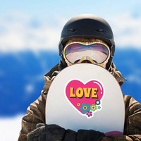 Pink Heart with Flowers Hippie Sticker on a Snowboard example