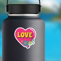 Pink Heart with Flowers Hippie Sticker on a Water Bottle example