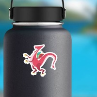Pink Standing Dragon Sticker on a Water Bottle example