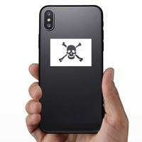 Classic Pirate Skull Flag Sticker on a Phone example