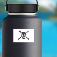 Classic Pirate Skull Flag Sticker on a Water Bottle example