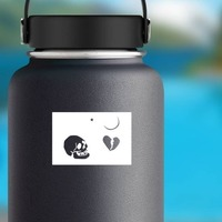 Pirate Flag With Skull, Broken Heart, Star And Moon Sticker on a Water Bottle example