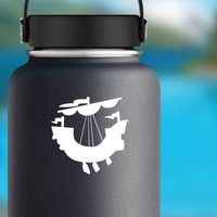 Pirate Ship Sticker on a Water Bottle example