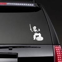 Pirate Skeleton Walking On Beer Barrel Sticker on a Rear Car Window example