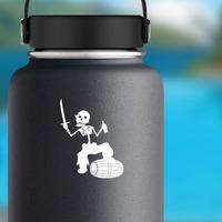 Pirate Skeleton Walking On Beer Barrel Sticker on a Water Bottle example