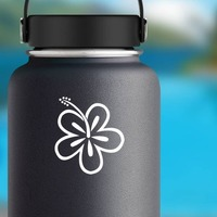 Plain Hibiscus Flower Sticker on a Water Bottle example