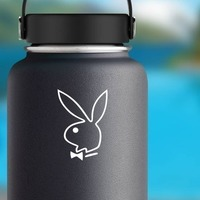 Playboy Bunny Outline Sticker on a Water Bottle example