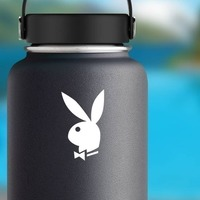 Playboy Bunny Sticker on a Water Bottle example