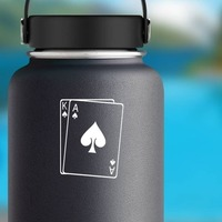 Playing Cards King And Ace Of Spades Sticker on a Water Bottle example