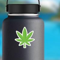 Pot Leaf Hippie Sticker on a Water Bottle example