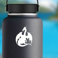 Powerful Dragon Sticker on a Water Bottle example