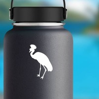 Pretty Crowned Crane Sticker on a Water Bottle example