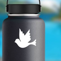 Pretty Dove Sticker on a Water Bottle example