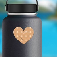 Pretty Heart Band Aid Bandage Sticker on a Water Bottle example