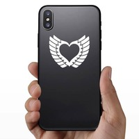 Pretty Heart With Wings Sticker on a Phone example