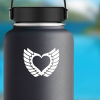 Pretty Heart With Wings Sticker on a Water Bottle example