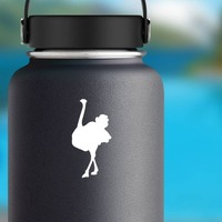 Pretty Ostrich Sticker on a Water Bottle example