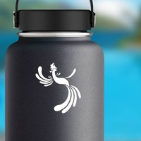 Pretty Rooster Sticker on a Water Bottle example