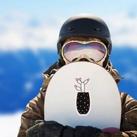 Prickly Cactus in Black Pot Sticker on a Snowboard example