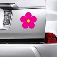 Printed Hot Pink Daisy Flower Magnet on a Car Bumper example