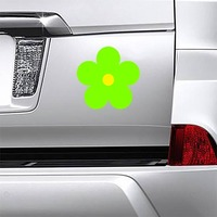 Printed Lime Green Daisy Flower Magnet on a Car Bumper example
