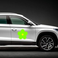 Printed Lime Green Daisy Flower Magnet on a Car Side example