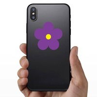 Printed Purple Daisy Flower Sticker on a Phone example