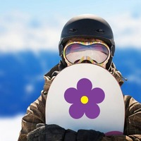 Printed Purple Daisy Flower Sticker on a Snowboard example
