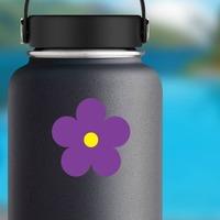 Printed Purple Daisy Flower Sticker on a Water Bottle example