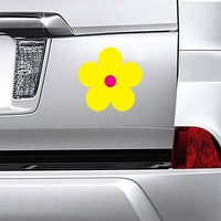 Printed Yellow Daisy Flower Magnet on a Car Bumper example