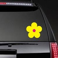 Printed Yellow Daisy Flower Sticker on a Rear Car Window example