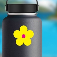 Printed Yellow Daisy Flower Sticker on a Water Bottle example