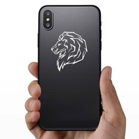 Proud Lion Head Sticker on a Phone example