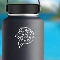 Proud Lion Head Sticker on a Water Bottle example
