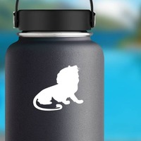 Proud Lion Sitting Sticker on a Water Bottle example