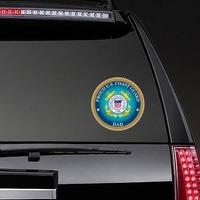 Proud US Coast Guard Dad Sticker on a Rear Car Window example