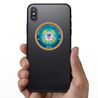Proud US Coast Guard Dad Sticker on a Phone example
