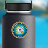 Proud US Coast Guard Dad Sticker on a Water Bottle example