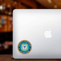 Proud US Coast Guard Grandfather Sticker on a Laptop example