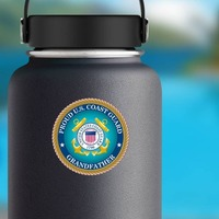 Proud US Coast Guard Grandfather Sticker on a Water Bottle example