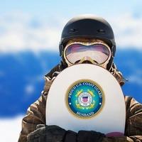 Proud US Coast Guard Husband Sticker on a Snowboard example
