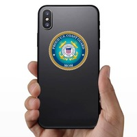 Proud US Coast Guard Mom Sticker on a Phone example