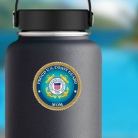 Proud US Coast Guard Mom Sticker on a Water Bottle example
